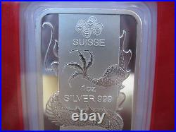 1 Oz. 999 Pure Silver 2012 Pamp Suisse China Year Of The Dragon Mint Bar + Gold