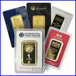 1 oz. 9999 Fine Gold Bar Brand Name With Assay Card Our Choice of Mix Mints