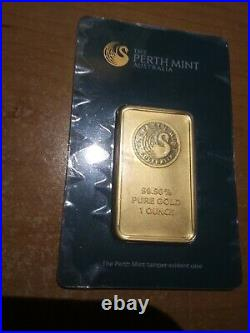 1 oz. Gold Bar Perth Mint 99.99 Fine in Assay Certified Card Sealed