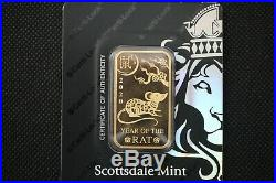 1 oz Gold Bar Scottsdale Mint Certi-Lock DNA (In Assay) 2020 Year of the Rat