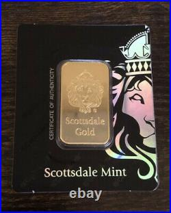 1oz. 9999 Gold Bar by Scottsdale Mint in Certi-LOCK COA #A389 FREE SHIPPING