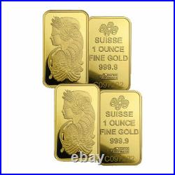 1oz Gold Bar PAMP Suisse Fortuna Veriscan (In Assay) Lot of 2 Bars