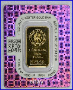 2017 ROOSTER 1 Ounce Gold Bar Scottsdale Mint Certi-Lock In Assay