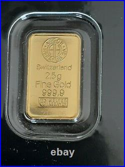 2.5 Gram Gold Bar Various Mints And Styles. In Assay Card. Limit of 2 please