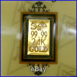 (5 Pack) of ACB 5GRAIN 24K SOLID GOLD BULLION MINTED BAR 99.99 FINE WithCOA