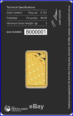 5g Gold bar Perth Mint with certificate blister check card 9999