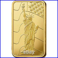 L@@K PAMP 1oz GOLD Bar Statue of Liberty Minted PREPPER Survival Investment