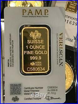 Lot Of (2) Pamp Suisse 1 Oz. Fine. 999 Gold Bars Exact Two Bars Shown In Photo