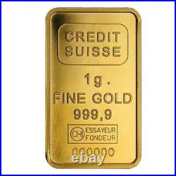 Lot of 10 1 gram Credit Suisse Statue of Liberty Gold Bar. 9999 Fine In