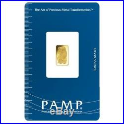 Lot of 10 1 gram Gold Bar PAMP Suisse Lady Fortuna Veriscan (In Assay)