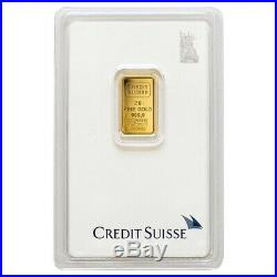 Lot of 10 2 gram Credit Suisse Statue of Liberty Gold Bar. 9999 Fine In