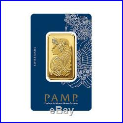 Lot of 10 Gold 1 oz PAMP Suisse Lady Fortuna. 9999 Fine Bars BANK WIRE ONLY