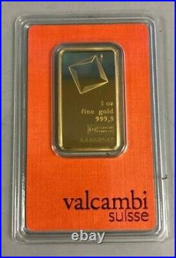 Lot of 10 Valcambi Suisse 1 oz Gold Bars of 24K. 9999 Sealed in Assay Cards