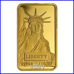 Lot of 2 1 gram Credit Suisse Statue of Liberty Gold Bar. 9999 Fine (In Assay)