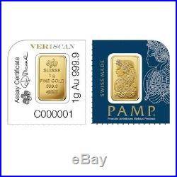 Lot of 2 1 gram Gold Bar PAMP Suisse Lady Fortuna. 9999 Fine In Assay from