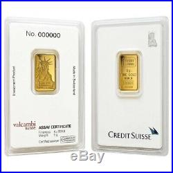 Lot of 2 5 gram Credit Suisse Statue of Liberty Gold Bar. 9999 Fine (In Assay)