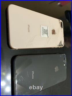 Lot of 2 Apple iPhone 8 Plus 64GB Gold (Unlocked) and grey IC Locked Read